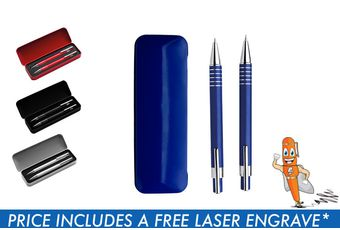 Lacquered Barrel Matching Ballpoint Pen and Clutch Pencil Set