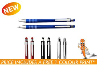 Matching Ballpoint Pen and Clutch Pencil Set in Translucent Box